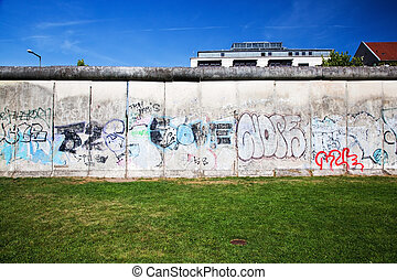Berlin Wall Memorial with graffiti. The Gedenkstatte...