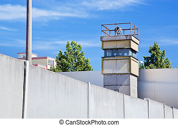 Berlin Wall Memorial, a watchtower in the inner area The...