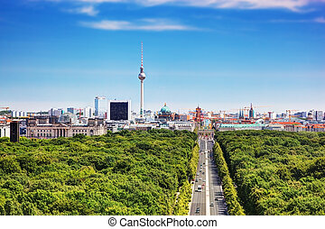 Berlin panorama. Berlin TV Tower and major landmarks -...