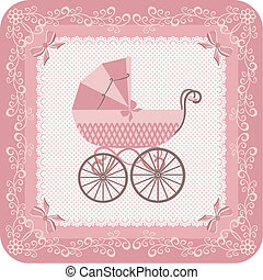 Baby girl carriage. - Congratulate newborn. Congratulatory...