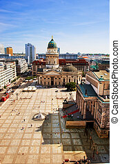 The Gendarmenmarkt and German Cathedral in Berlin -...