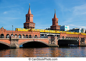 The Oberbaum Bridge in Berlin, Germany - The Oberbaum...