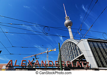 Alexanderplatz sign and Television tower. Berlin, Germany -...