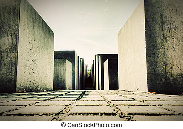 The Holocaust Memorial, Berlin, Germany. Memorial to the...