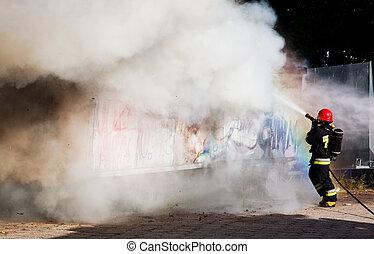 bomberos, lucha, fuego, desperdicio, lugar