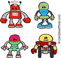 Illustration of little robots - Illustration of variety of...