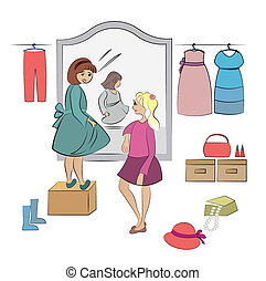 two children in wardrobe