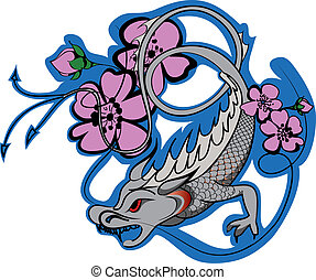 japan dragon tattoo - Vector - Vector ilustration