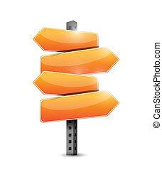 orange road signs illustration design