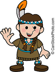 Illustration of girl in Native American costume -...