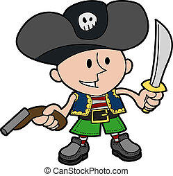 Illustration of boy in pirate costume