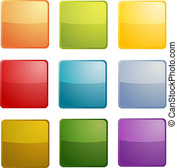 Blank icons - Blank empty icon clipart illustration, square...