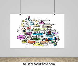 Business strategy - Hanging banner with business plan,...