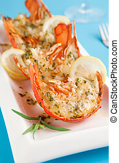 Grilled lobster tails with tarragon lemon butter