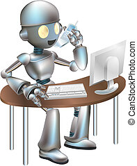 Illustration of robot sitting at desk - Illustration of...