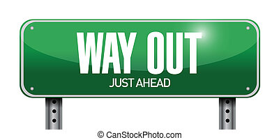 way out road sign illustration design over a white...