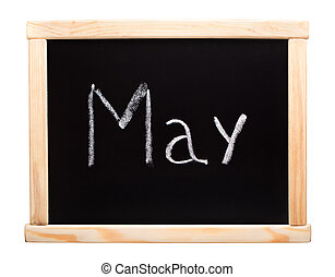 Month May written with chalk on blackboard
