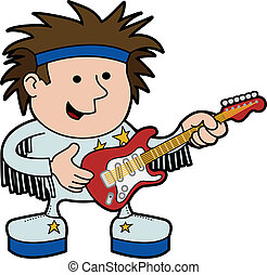 Illustration of rock and roll musician with electric guitar...