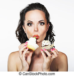 Gluttony Hungry Funny Young Woman Greedily Eats Cakes with...