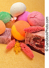 Spa tools, Bath bombs, natural soap,flower, aromatherapy
