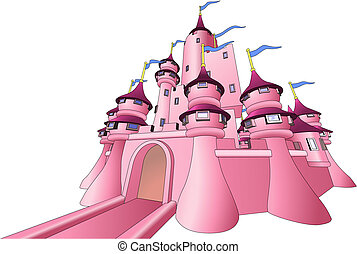 Illustration of fairy castle - Illustration of pink fairy...
