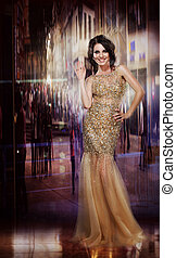 Elegance. Glamorous Glorious Lady in Yellow Dress. Formal...