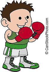 Illustration of male boxer wearing boxer gloves