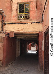 Alley in Marrakech - Alley in old Medina of Marrakech,...