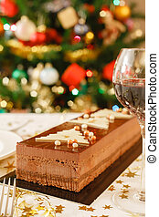 Christmas food on table - Christmas chocolate cake on a...