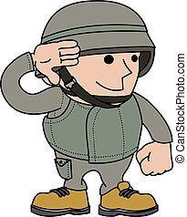 Illustration of male soldier saluting and in military...
