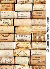 Wine cork pattern background - Different wine corks in a...