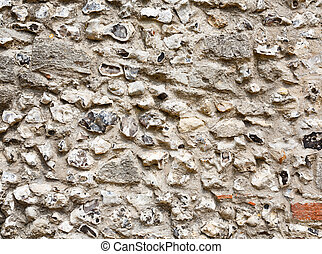 Flint stone wall - Closeup of an ancient flint and stonework...