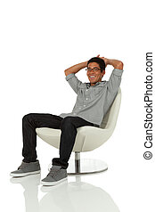 Young adult in modern chair