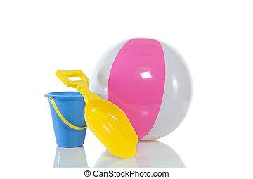 Beach ball and sand toyes - Beach ball, a sand shovel and a...