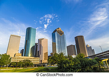 cityscape of Houston in late afternoon light