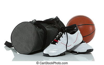 Gym bag with shoes and a ball - Gym bag with basketball...