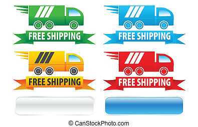 Free Shipping Trucks - Free shipping seal graphics with four...