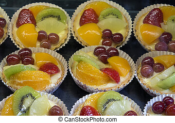 Lemon Custard Tarts with Fruits - Lemon Curd Tarts with...