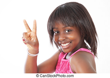 Little girl peace sign - Smiling little girl making peace...