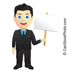 Smiling Businessman Holding A Sign