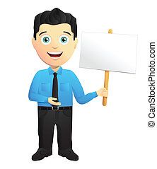 Friendly Businessman Holding A Sign