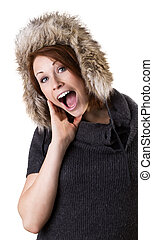 Woman with fur cap - Crazy young woman with fur cap