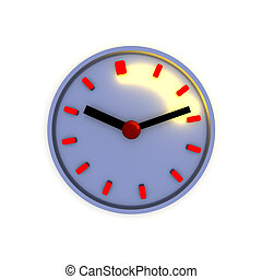 Clock with highlighted time interval 3d illustration.