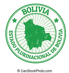 Bolivia stamp - Grunge rubber stamp with the name and map of...