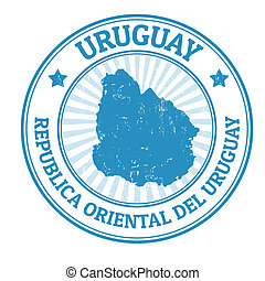 Uruguay stamp - Grunge rubber stamp with the name and map of...
