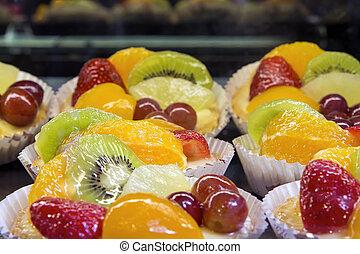 Lemon Custard Tarts with Fruits Closeup - Lemon Curd Tarts...