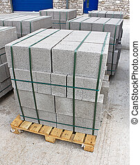 Pallet of breeze blocks - Pallets of breeze blocks at a...