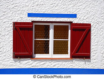 Rural window in a little village, Porto Covo, Portugal