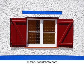 Rural window in a little village, Porto Covo, Portugal