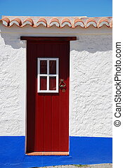 Rural door in a little village, Porto Covo, Portugal